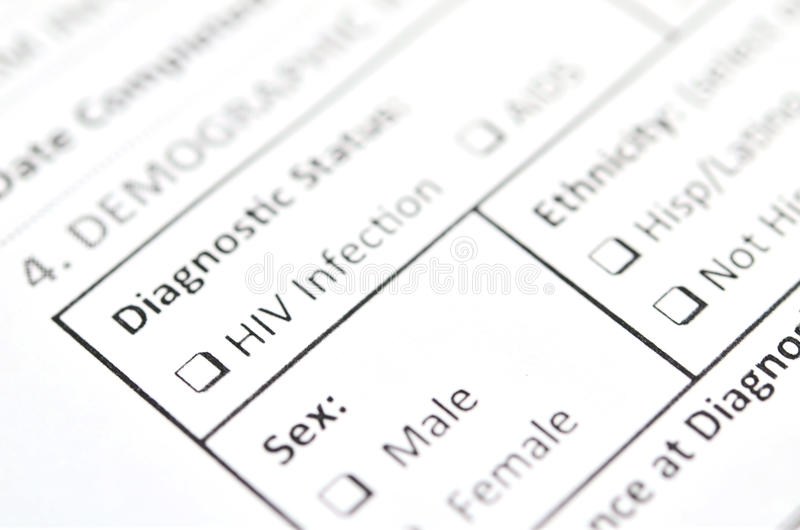 HIV Test form stock photography