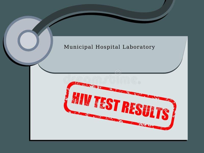 HIV test. Medical patient file folder - HIV test results in an envelope. Healthcare concept stock illustration