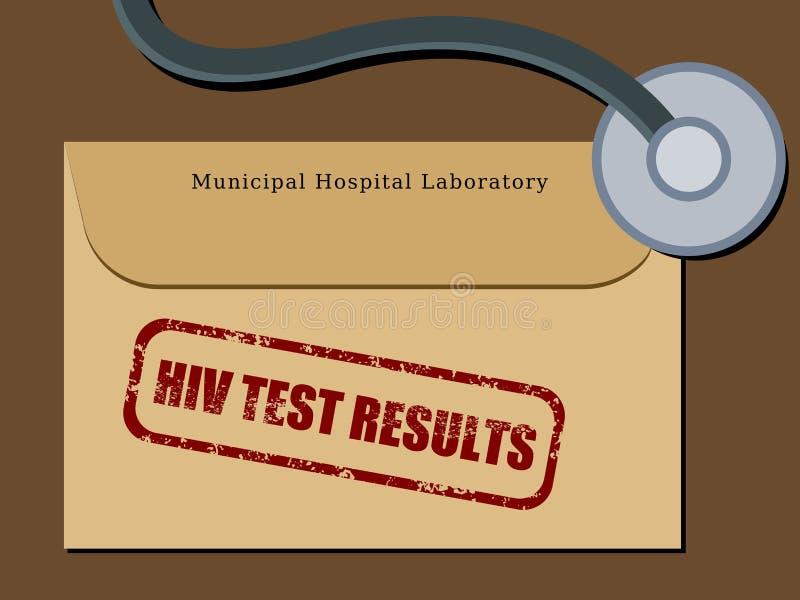 HIV test results. Medical patient file folder - HIV test results in an envelope. Healthcare concept stock illustration