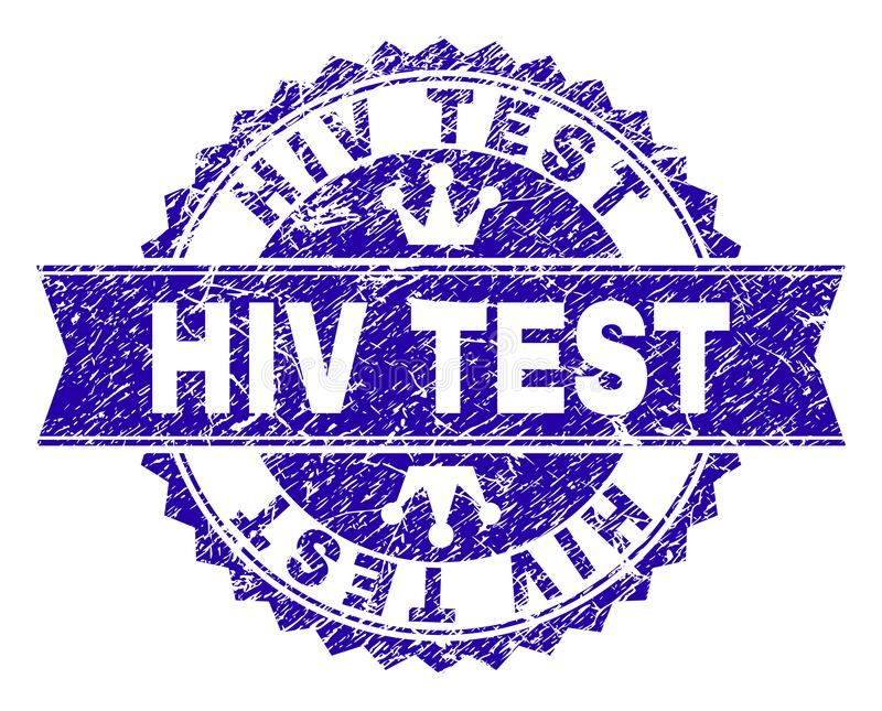 Grunge Textured HIV TEST Stamp Seal with Ribbon. HIV TEST rosette stamp watermark with grunge texture. Designed with round rosette, ribbon and small crowns. Blue royalty free illustration