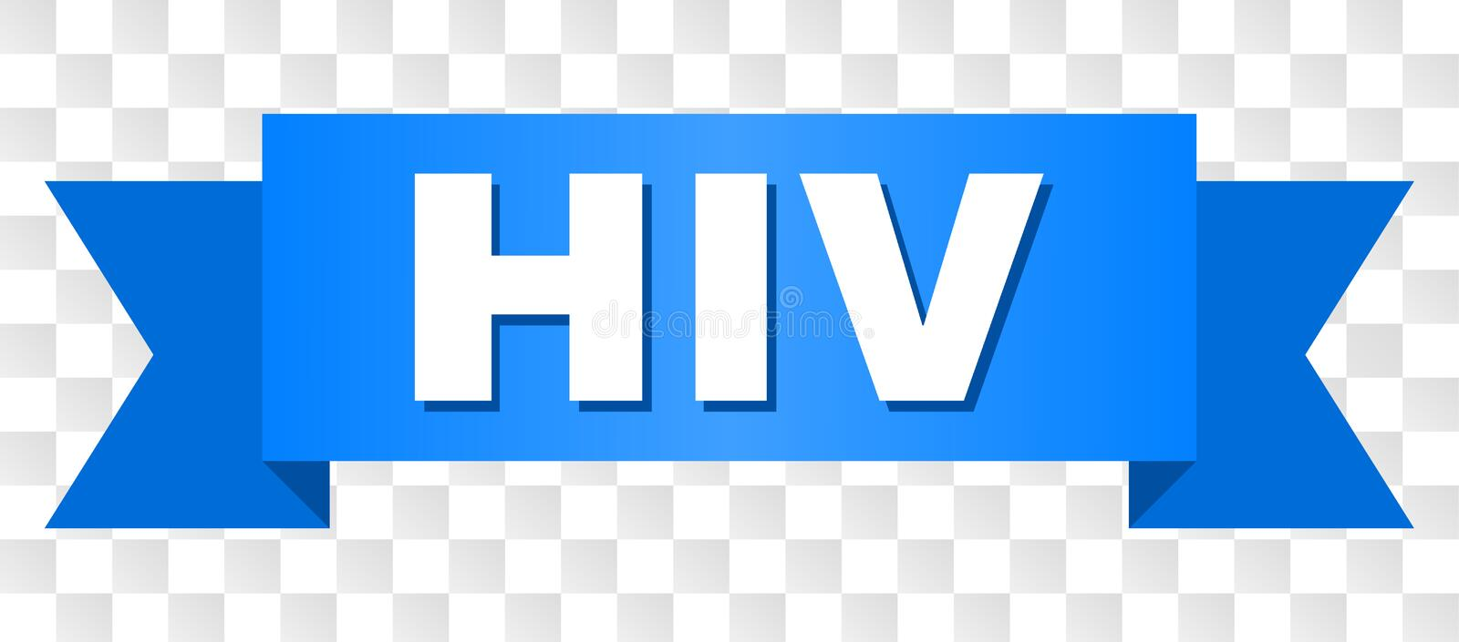 Blue Stripe with HIV Text. HIV text on a ribbon. Designed with white title and blue stripe. Vector banner with HIV tag on a transparent background stock illustration
