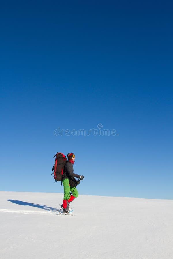 Hiver augmentant dans les montagnes sur des raquettes avec un sac à dos et une tente photos stock
