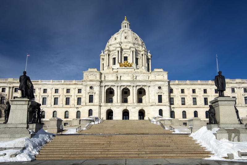 Hiver, bâtiment de capitale de l'État, Saint Paul, Minnesota, Etats-Unis images libres de droits