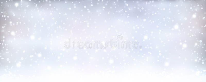 Hiver bleu argenté abstrait, bannière de Noël avec des chutes de neige illustration stock