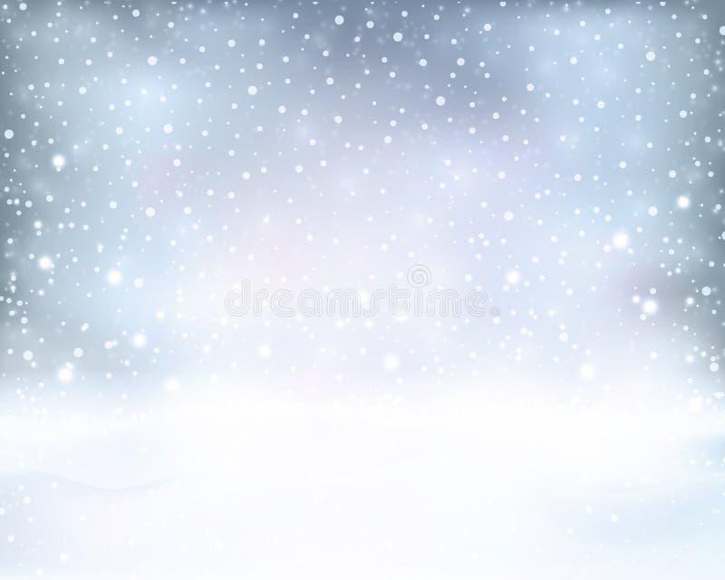 Hiver bleu argenté, fond de Noël avec des chutes de neige illustration stock