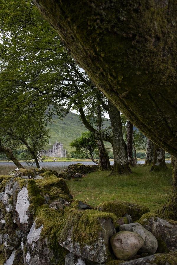 Hiver BRITANNIQUE de pluie de voyage de montagnes de château de l'Ecosse photographie stock libre de droits