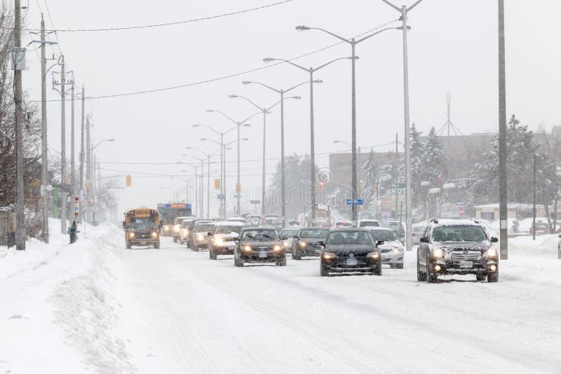 Hiver conduisant à Toronto images libres de droits