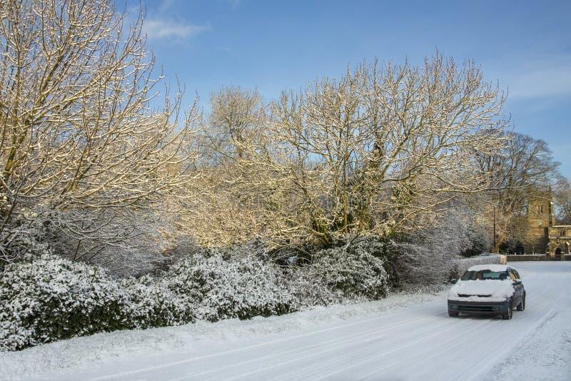 Hiver conduisant - North Yorkshire - l'Angleterre photos stock