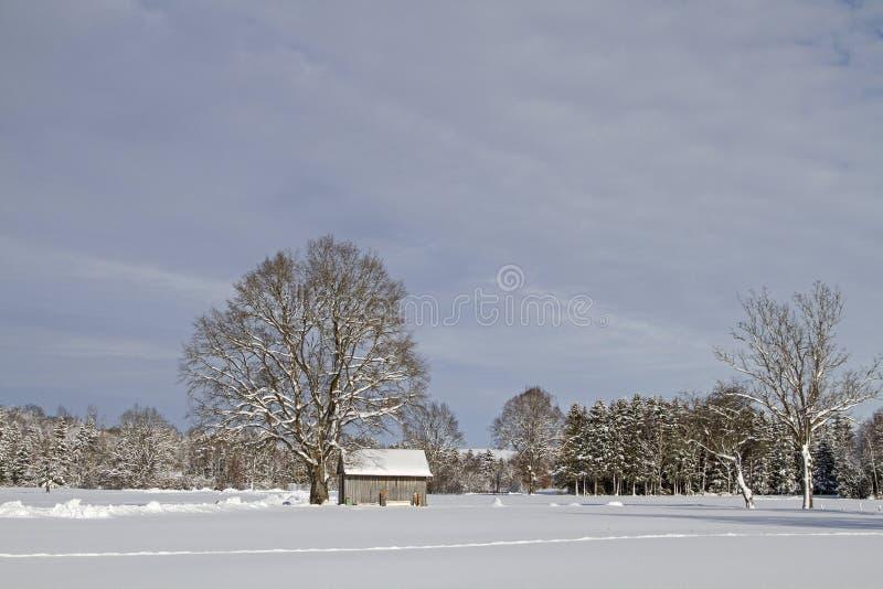 Hiver dans Isarwinkel près de mauvais Toelz photographie stock