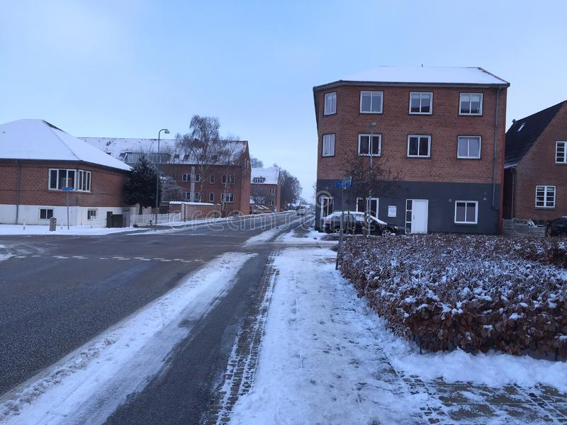 Hiver dans la ville Herning, Danemark photo libre de droits