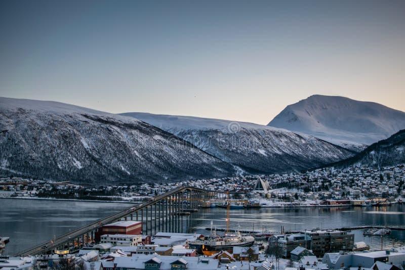 Hiver dans Tromso d'en haut photographie stock