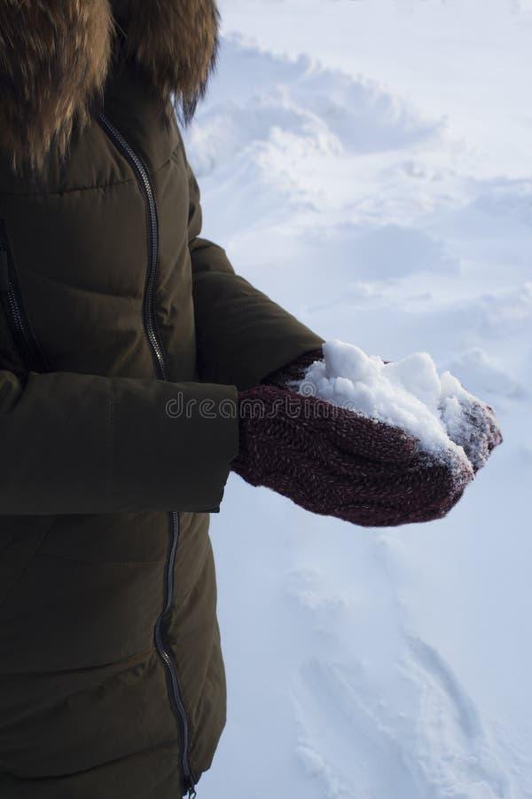 Hiver de boule de neige de participation d'homme en parc, promenade, amusement, sports et loisirs, veste verte, mitaines de Bourg images libres de droits