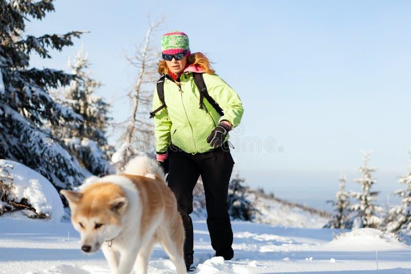 Hiver de femme augmentant avec le chien photos libres de droits