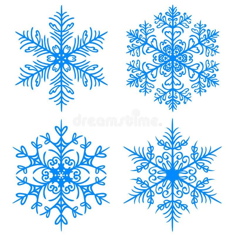 Hiver de flocon de neige Silhouettes de version de trame sur le fond blanc illustration stock