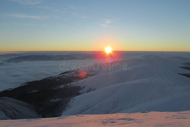 hiver de lever de soleil images stock