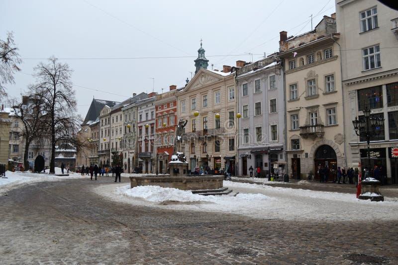 Hiver de Lviv Ukraine de place du marché image libre de droits