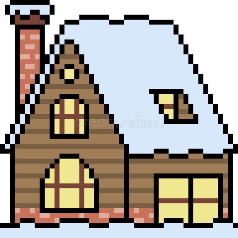 Hiver de maison en bois d'art de pixel de vecteur illustration de vecteur