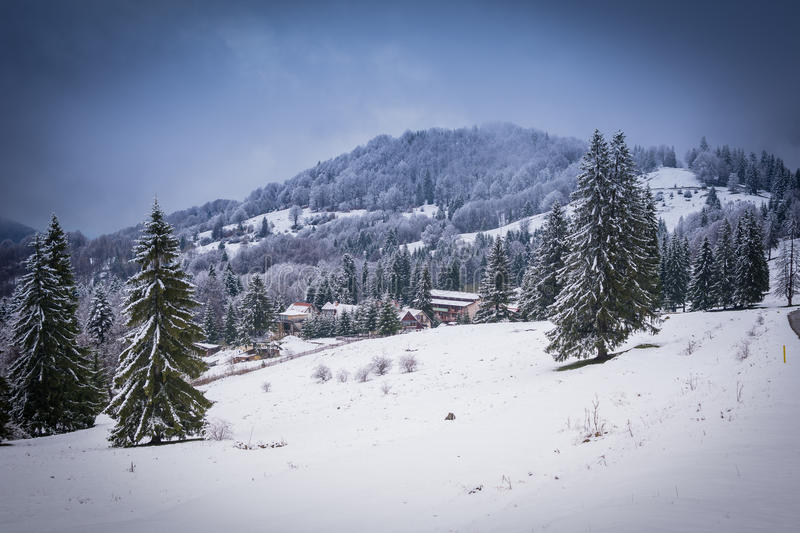 Hiver en Brasov Roumanie photographie stock