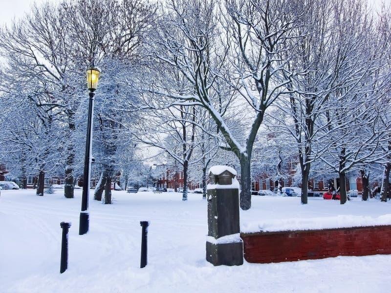 Hiver en parc à Leeds, R-U image libre de droits