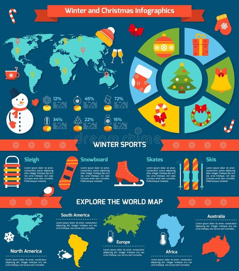 Hiver et Noël infographic illustration de vecteur