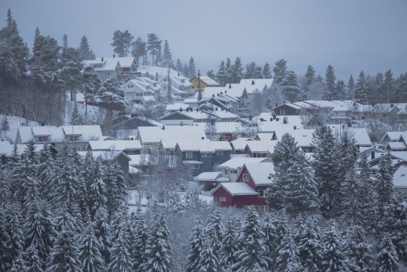 Hiver et for?t neigeuse avec les maisons en bois photographie stock libre de droits