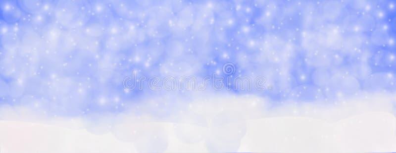 Hiver extérieur avec les flocons de neige en baisse, hor panoramique de bannière de Web photos stock