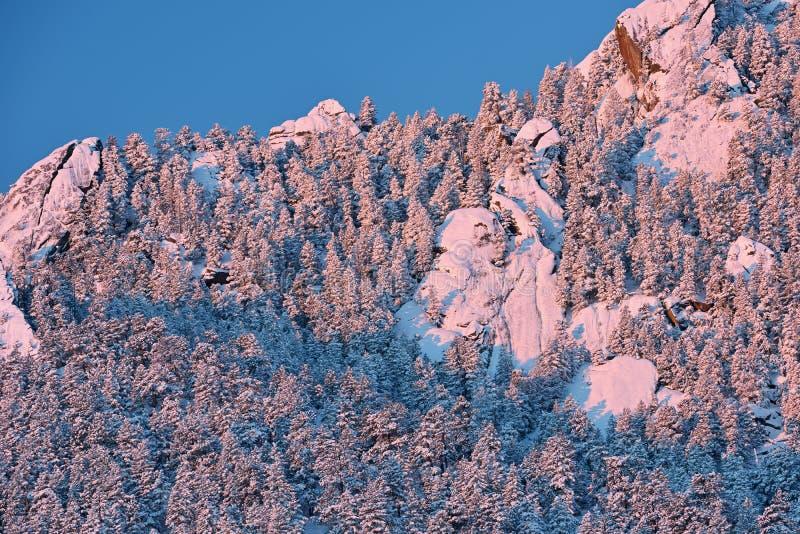 Hiver, fers à repasser assemblés avec la neige au lever de soleil photographie stock libre de droits