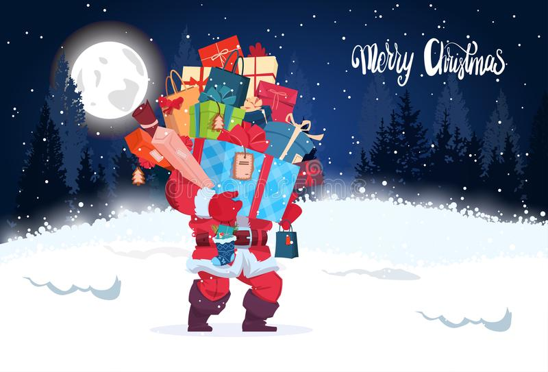 Hiver Forest Landscape de nuit de carte de voeux de vacances de Santa Holding Heap Of Gifts de bannière de Joyeux Noël illustration libre de droits