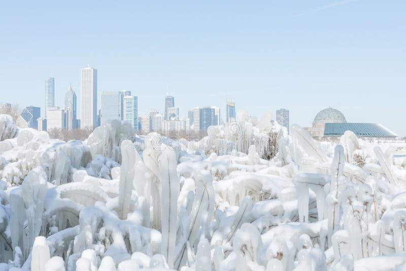 Hiver froid Chicago du centre photographie stock libre de droits