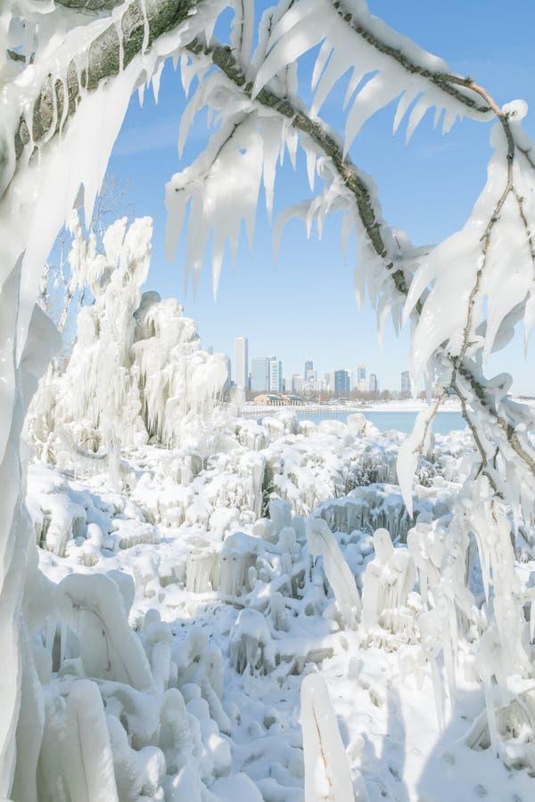 Hiver froid Chicago du centre avec l'horizon de ville photo stock