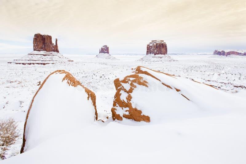 hiver les mitaines et le Merrick Butte, vallée P national de monument photographie stock libre de droits