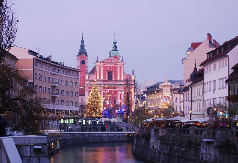 Hiver Ljubljana image libre de droits