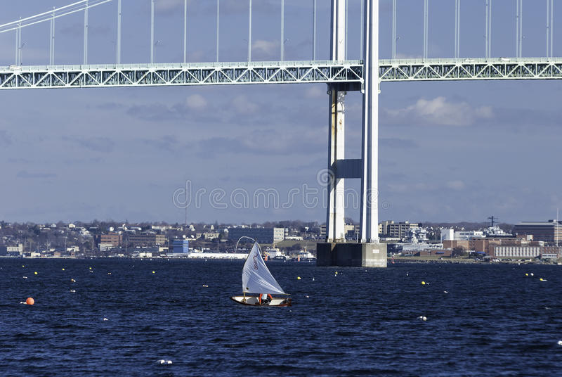 Hiver naviguant la baie de Narragansett image stock