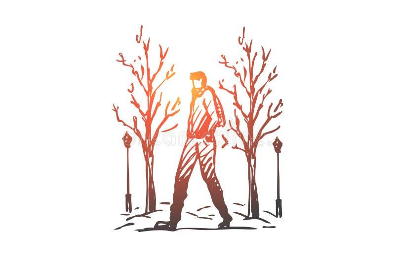 Hiver, parc, homme, marchant, concept de saison Vecteur d'isolement tiré par la main illustration de vecteur