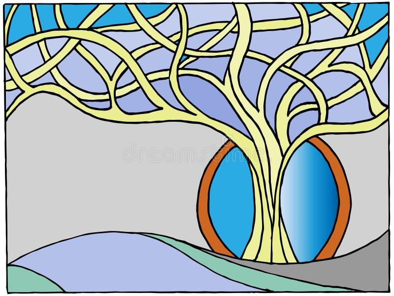Hiver peint de branches d'arbre image stock