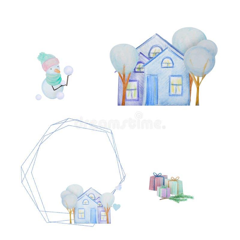 Hiver réglé avec des bonhommes de neige et des maisons et cadre ceometric peint avec les crayons colorés d'aquarelle illustration libre de droits