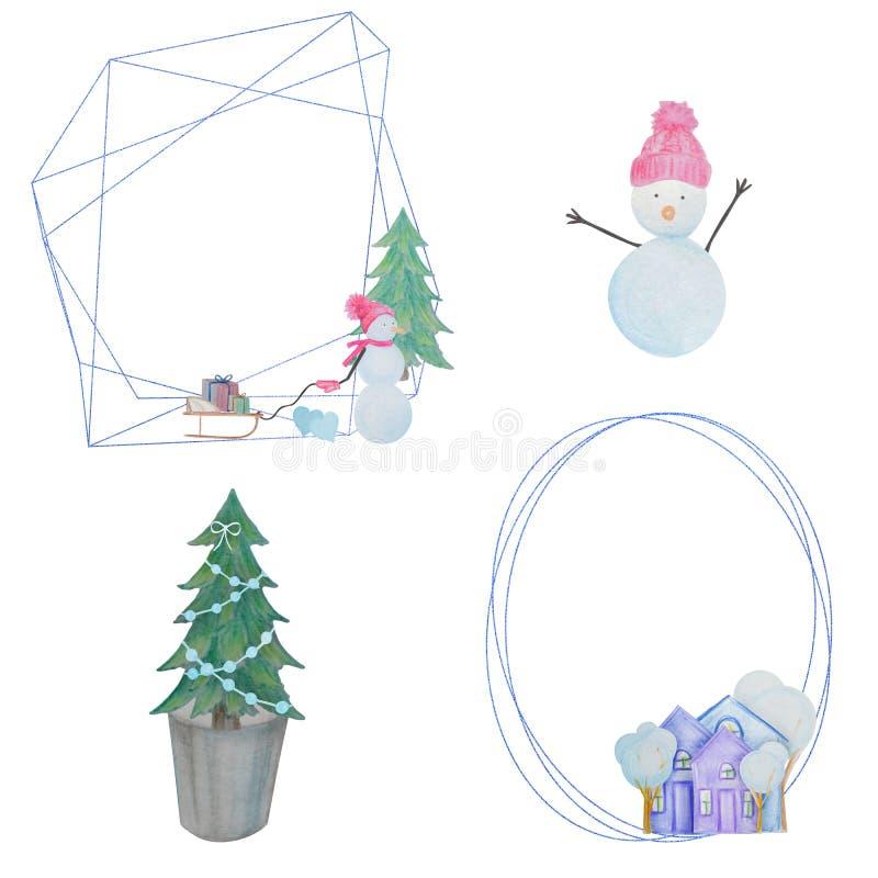Hiver réglé avec des bonhommes de neige et des maisons et cadres géométriques peints avec les crayons colorés d'aquarelle illustration de vecteur
