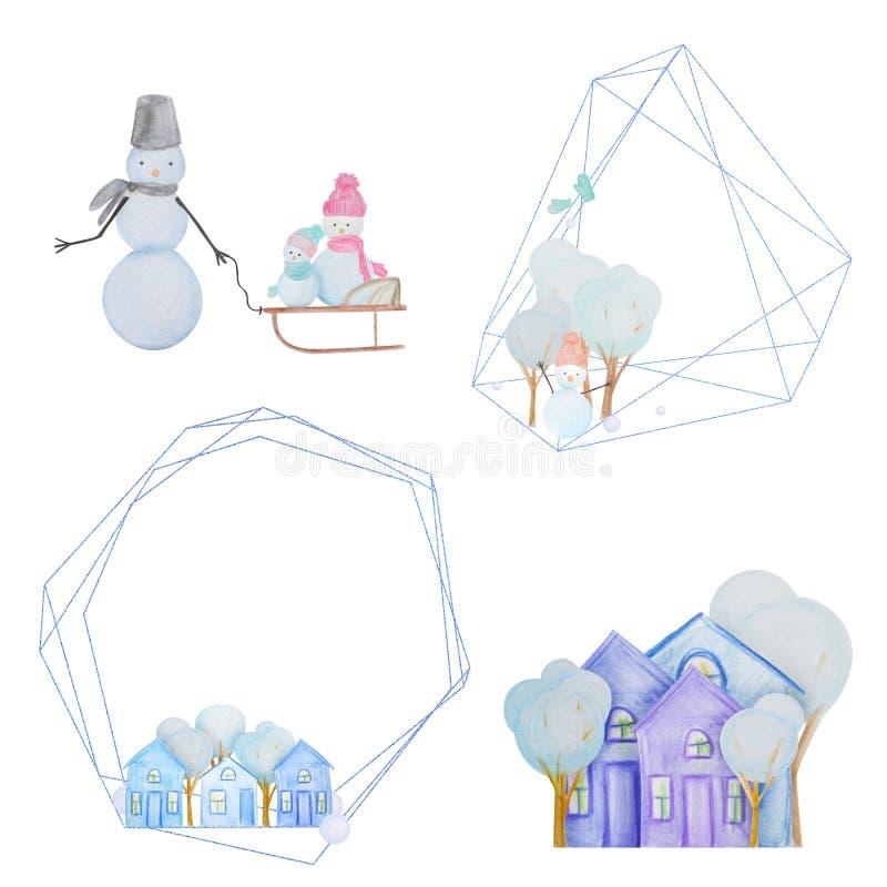 Hiver réglé avec des bonhommes de neige et des maisons et cadres géométriques peints avec les crayons colorés d'aquarelle illustration libre de droits