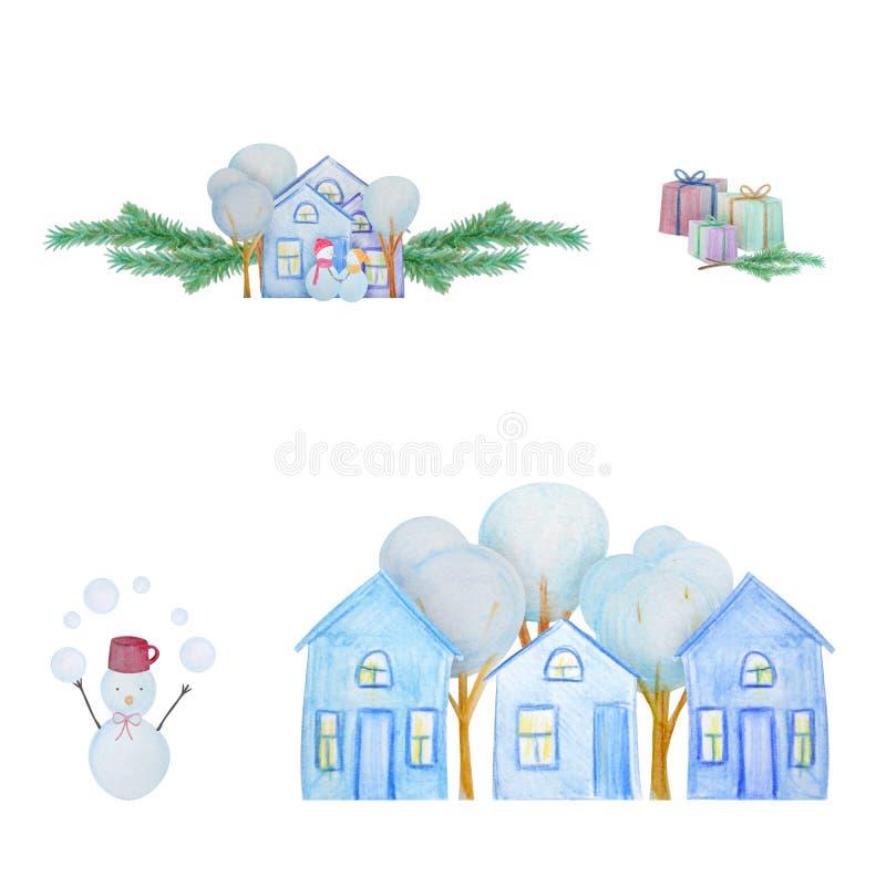 Hiver réglé avec des bonhommes de neige et peinture pour bâtiments avec les crayons colorés d'aquarelle illustration stock