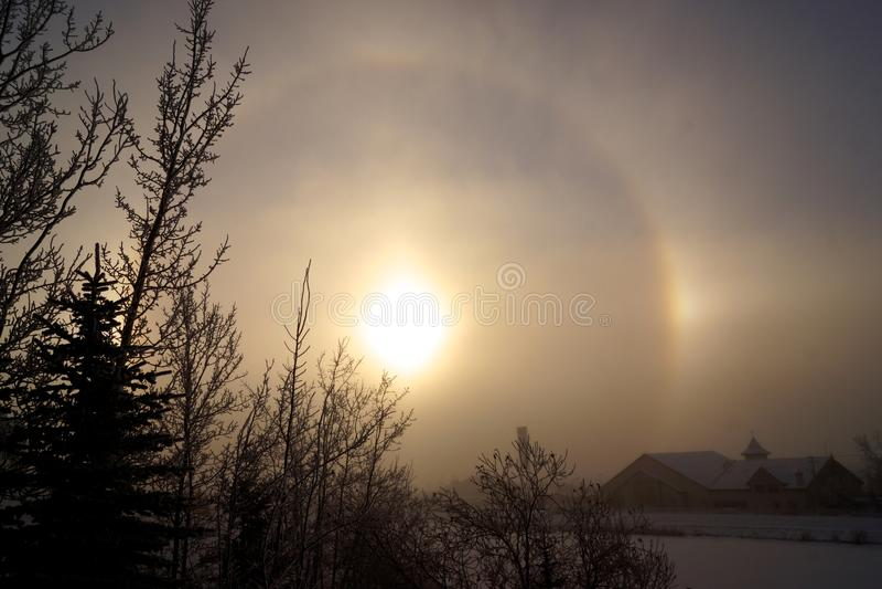 Hiver Sundog à Calgary image stock