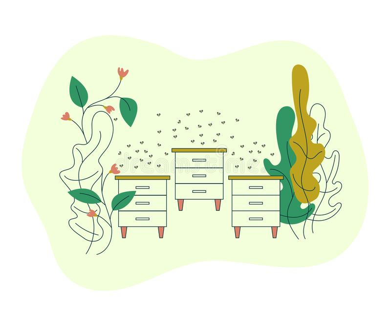 Hives on the farm field with flowers. Apiary with bee hives and a swarm of bees. Blooming flowers with bees. Vector flat modern royalty free illustration