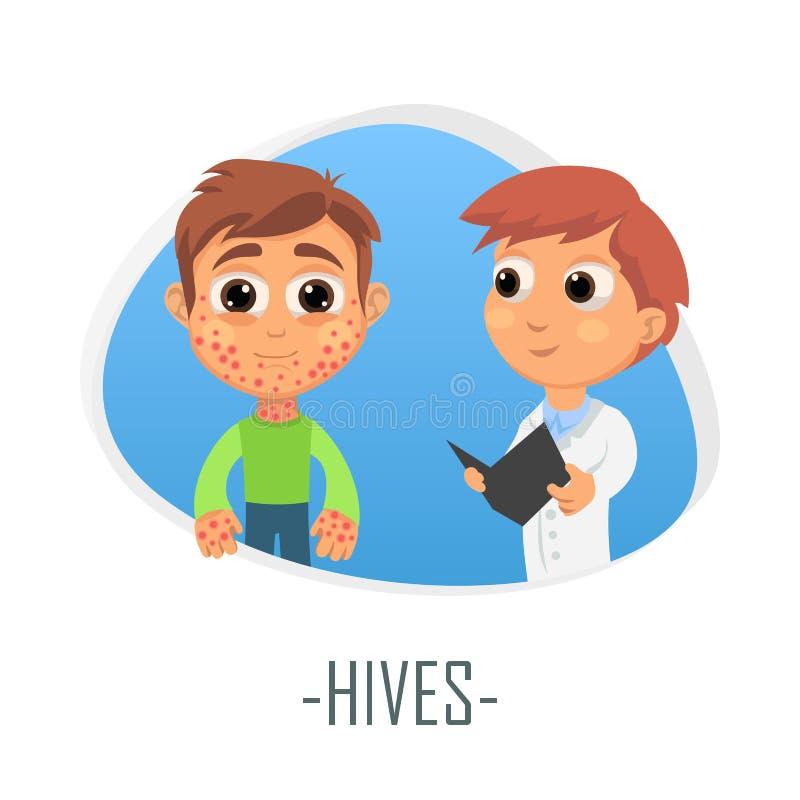 Hives medical concept. Vector illustration. royalty free illustration