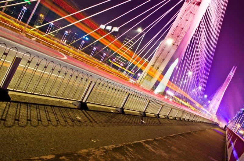 HiYin桥梁在晚上广州 库存照片