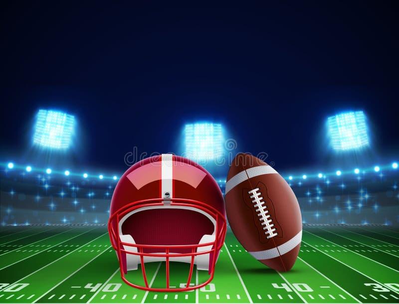 Hjälmboll och fält för amerikansk fotboll eps 10 royaltyfri illustrationer