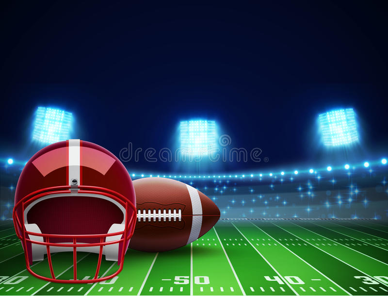 Hjälmboll och fält för amerikansk fotboll eps 10 stock illustrationer