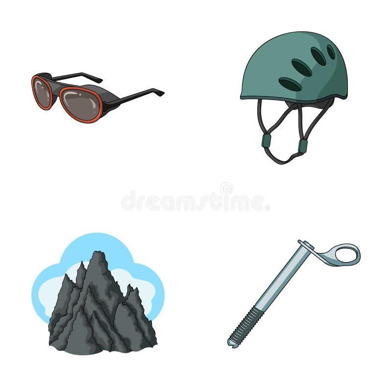 Hjälmen skyddsglasögon, kilsäkerhet, når en höjdpunkt i molnen Klättra i berg fastställda samlingssymboler i tecknad film utforma royaltyfri illustrationer