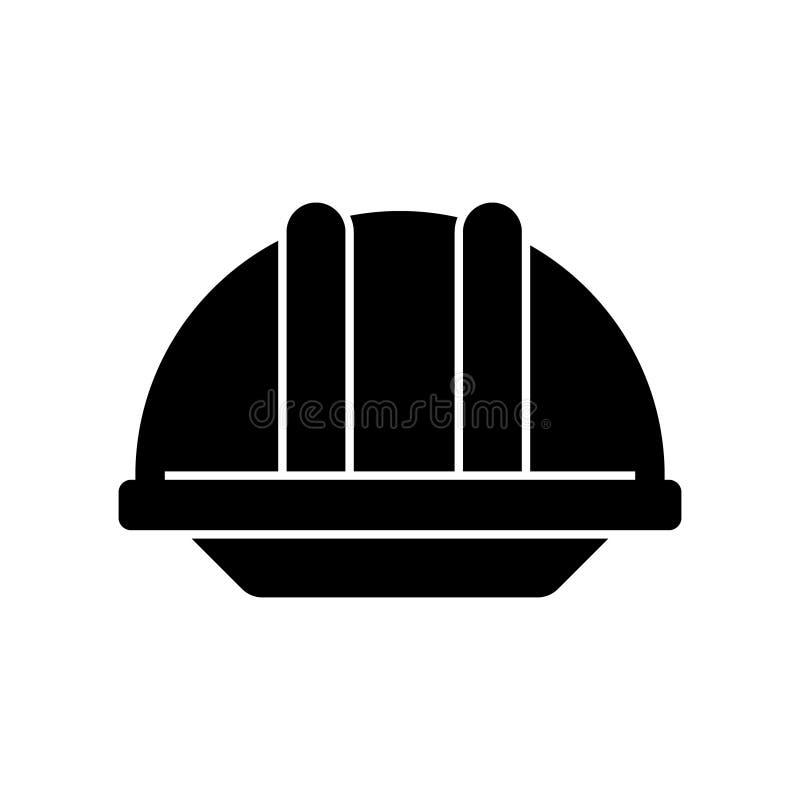 Hjälmkonstruktionssymbol, vektorillustration, svart tecken på isolerad bakgrund royaltyfri illustrationer