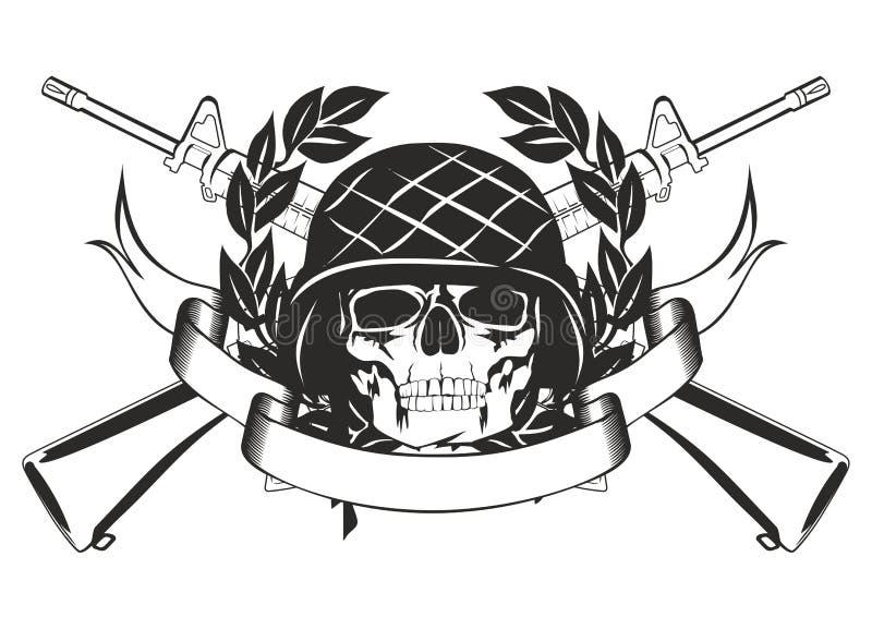 hjälmmilitärskalle stock illustrationer