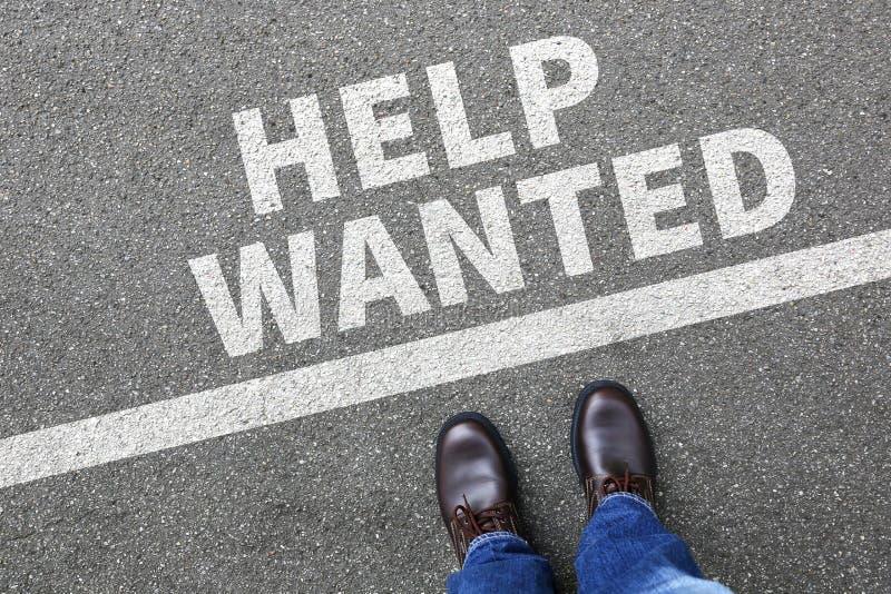 Hjälp önskade jobb, funktionsdugliga rekryteringanställda för jobb som affären lurar royaltyfri bild