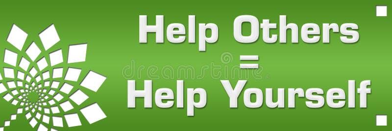 Hjälp andra för att hjälpa själv grön blom- vänstersida vektor illustrationer